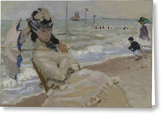 Camille On The Beach In Trouville, 1870 Greeting Card by Claude Monet