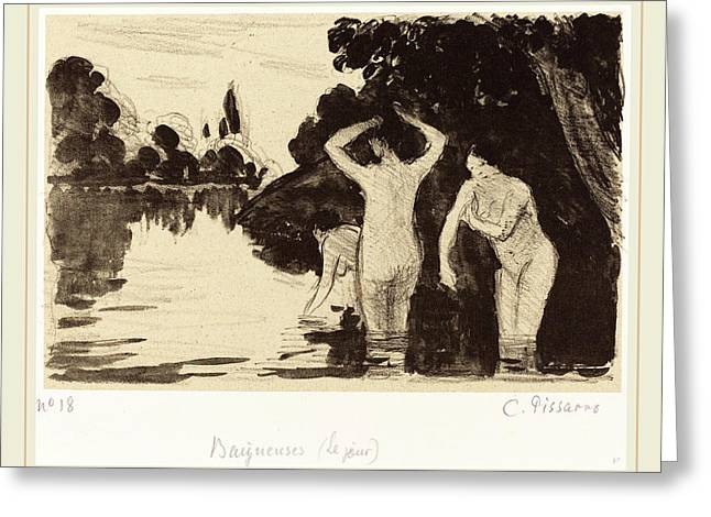 Camille Pissarro French, 1830-1903, Baigneuses Greeting Card