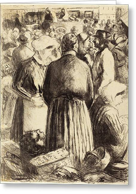 Camille Pissarro French, 1830 - 1903, Market At Pontoise Greeting Card by Quint Lox