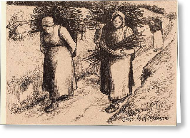 Camille Pissarro French, 1830 - 1903, Peasants Carrying Greeting Card