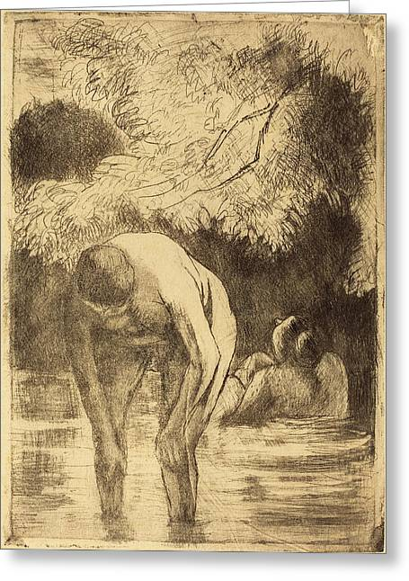 Camille Pissarro French, 1830 - 1903, Two Women Bathing Les Greeting Card