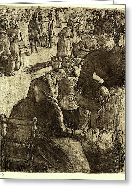 Camille Pissarro, French 1830-1903, Vegetable Market Greeting Card