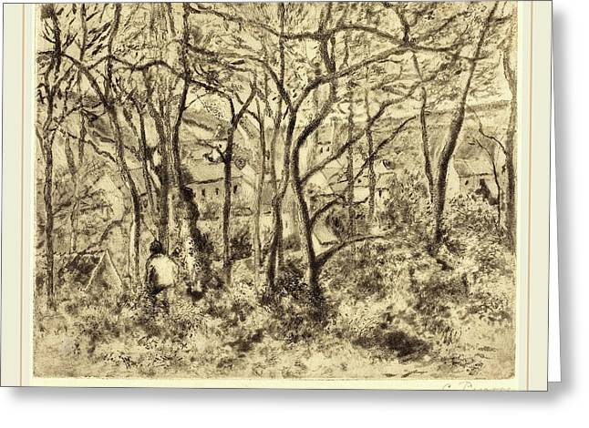 Camille Pissarro French, 1830-1903, Wooded Landscape Greeting Card