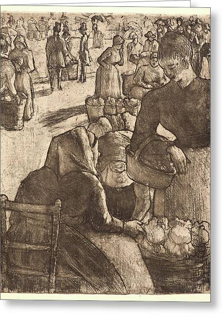 Camille Pissarro French, 1831 - 1903. Vegetable Market Greeting Card