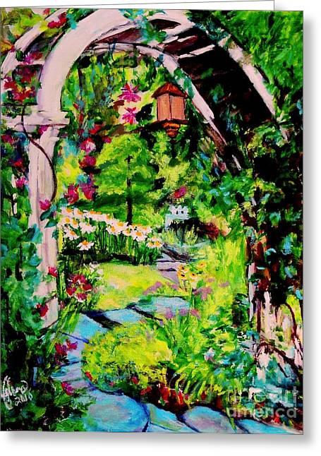 Camille's Secret Cottage Garden  Greeting Card by Helena Bebirian