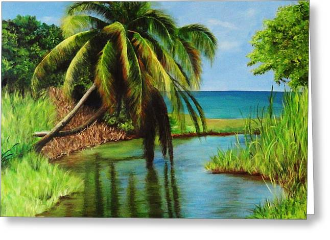Camino Del Agua Greeting Card by Migdalia Bahamundi