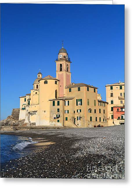 Greeting Card featuring the photograph Camogli Seaside And Church by Antonio Scarpi