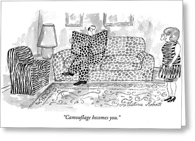 Camouflage Becomes You Greeting Card by Victoria Roberts