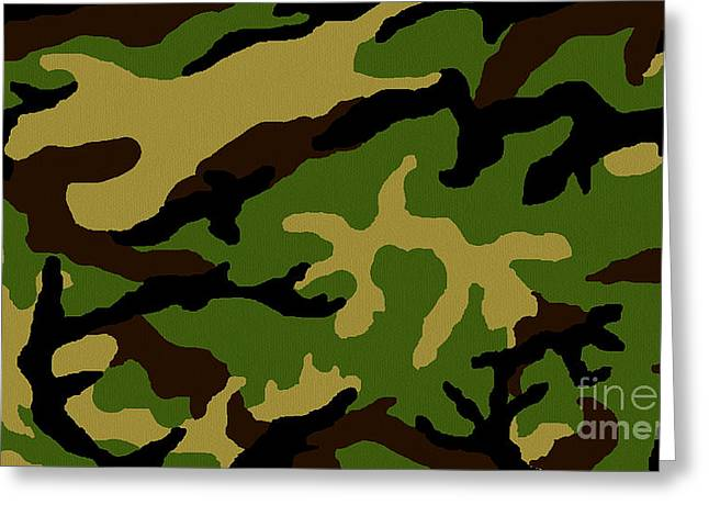 Greeting Card featuring the painting Camouflage Military Tribute by Roz Abellera Art