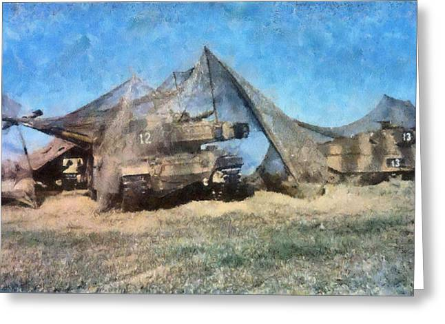 Camouflaged Tanks Greeting Card