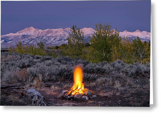 Camp Fire Warmth Greeting Card by Leland D Howard