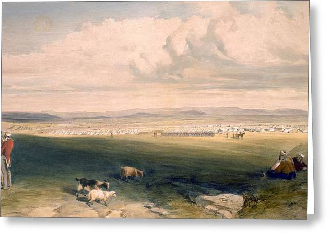 Camp Of The Light Division, Plate Greeting Card by William 'Crimea' Simpson