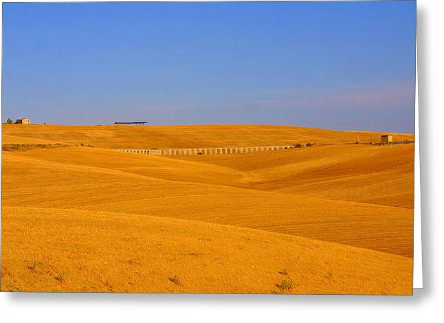 Tarquinia Landscape Campaign With Aqueduct And Houses Greeting Card