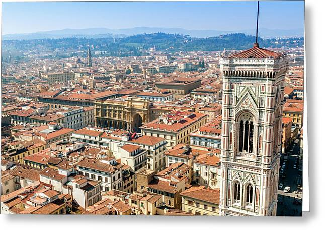 Campanile Of Giotto And City View Greeting Card by Nico Tondini