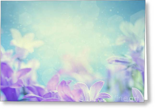Campanula Floral Background Greeting Card by Mythja  Photography