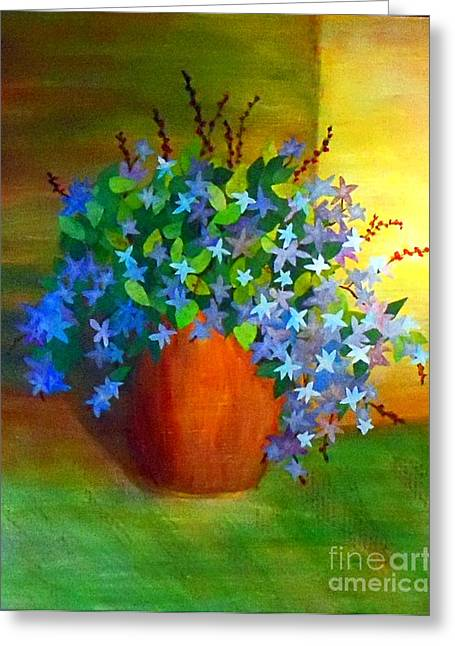 Campanula In Terra Cotta Greeting Card by Desiree Paquette