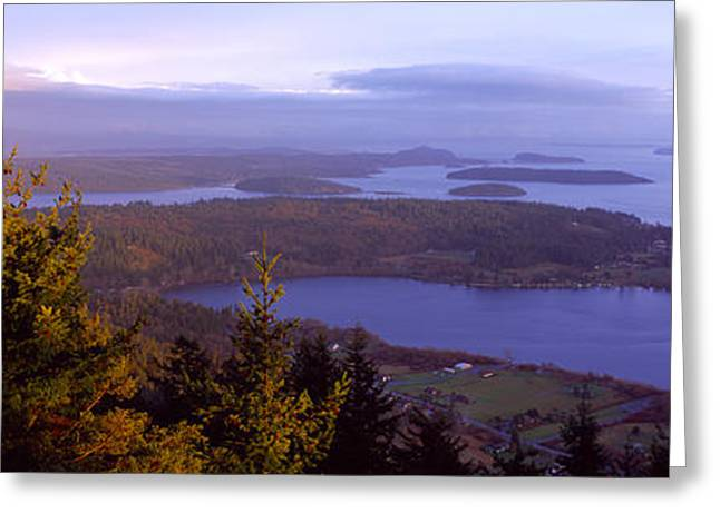 Campbell Lake And Whidbey Island Wa Greeting Card by Panoramic Images