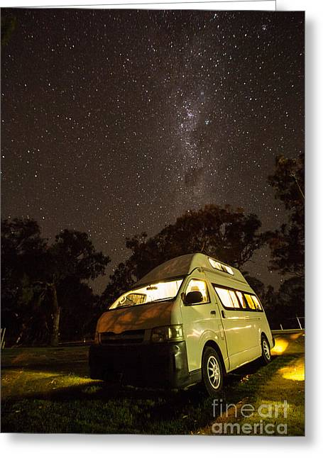 Campervan In The Night Greeting Card