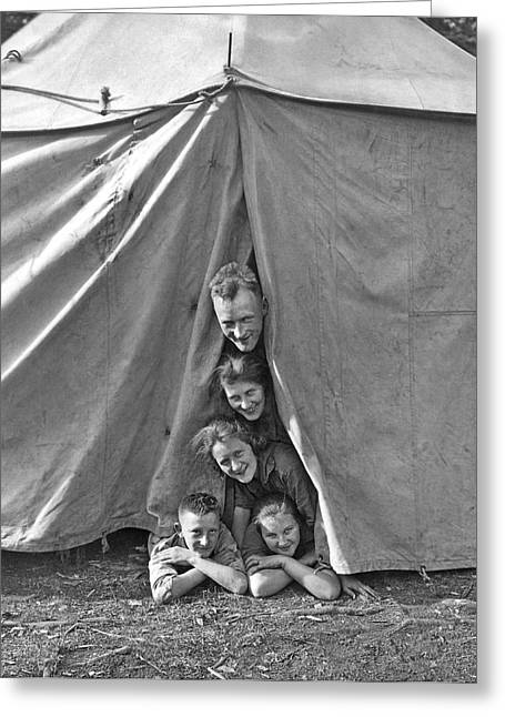 Camping Family Portrait Greeting Card by Underwood Archives