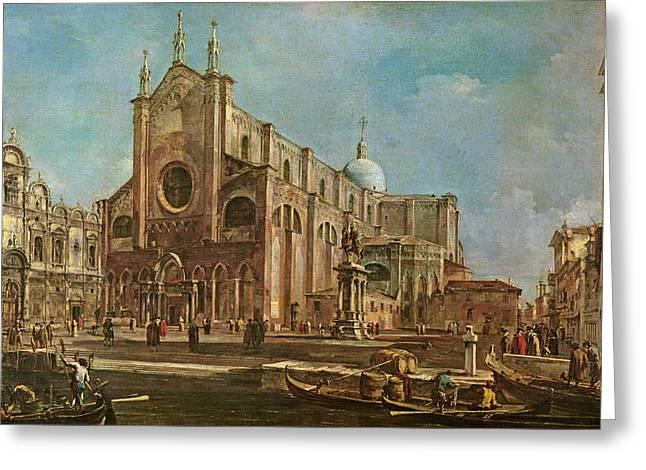 Campo Dei Santi Giovanni E Paolo And The Scuola Grande Di San Marco, Venice Oil On Canvas Greeting Card by Francesco Guardi