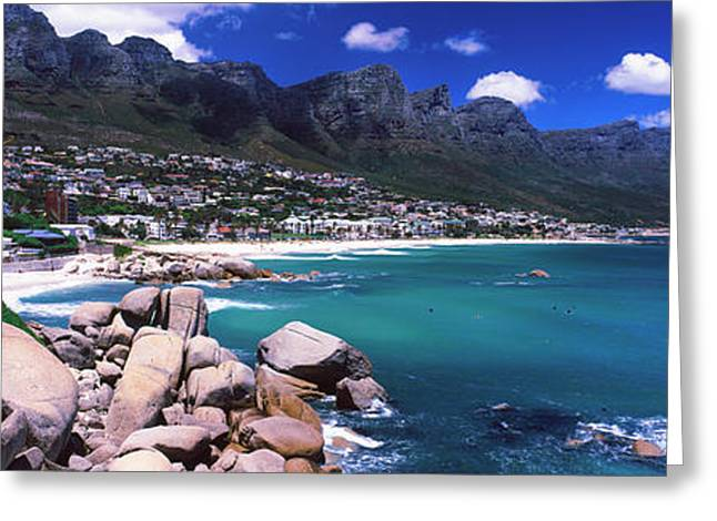 Camps Bay With Twelve Apostles Mountain Greeting Card by Panoramic Images