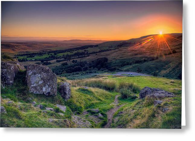 Campsies Sunset In Scotland Greeting Card by Ray Devlin