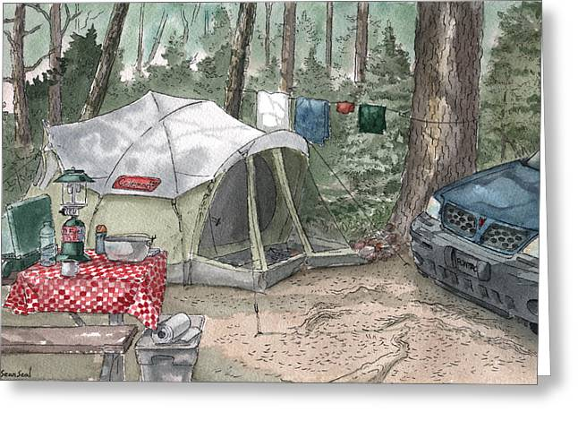 Campsite Greeting Card by Sean Seal