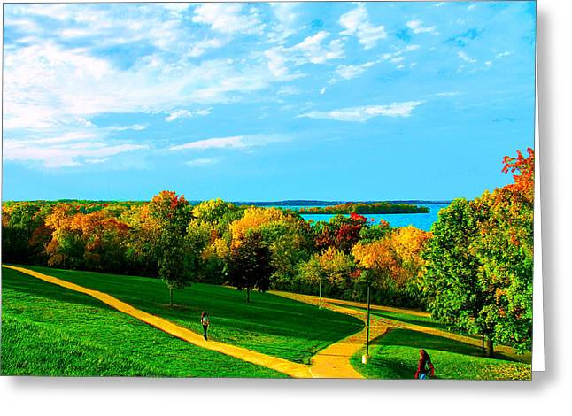 Campus Fall Colors Greeting Card by Zafer Gurel
