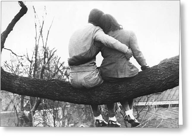 Lovers Out On A Limb Greeting Card by Underwood Archives