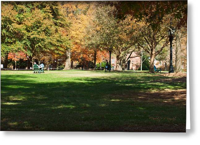 Campus Study Time - Davidson College Greeting Card by Paulette B Wright