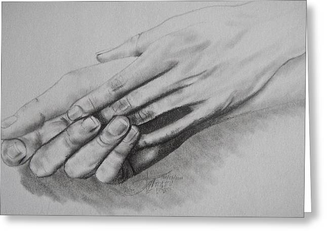 Can We Hold Hands Greeting Card by Ann Supan