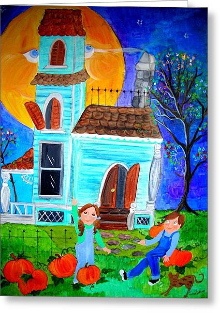 Can You See The Man In The Moon Greeting Card by Jean Jackson