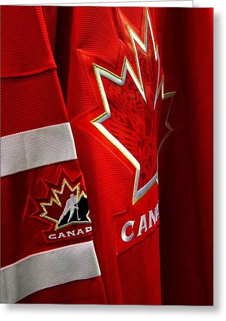 Canada Hockey Jersey Greeting Card by Paul Wash