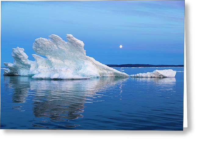 Canada, Nunavut Territory, Moon Rises Greeting Card by Paul Souders