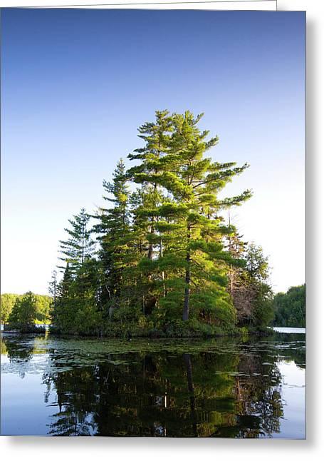Canada, Quebec Island On Lake Long Pond Greeting Card