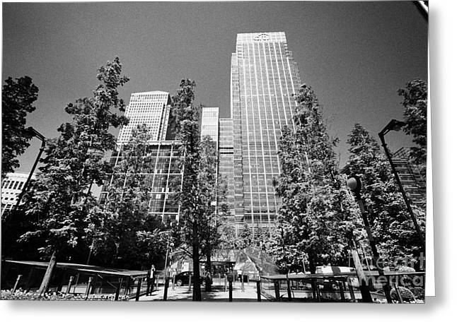 canada square park and citigroup centre 33 and 25 canada square canary wharf London England UK Greeting Card