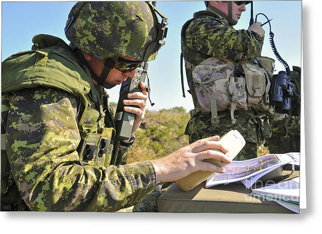 Canadian Army Captain Radios A Close Greeting Card by Stocktrek Images