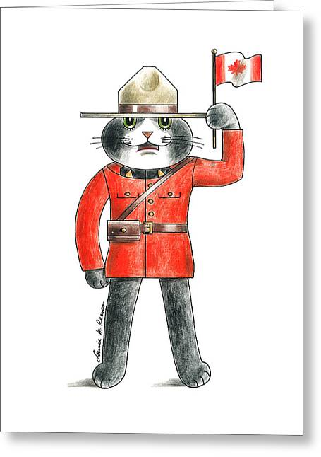 Canadian Cat Greeting Card by Louise McClain Reeves