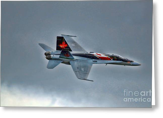 Canadian Cf18 Hornet Fly By Greeting Card by Cathy  Beharriell