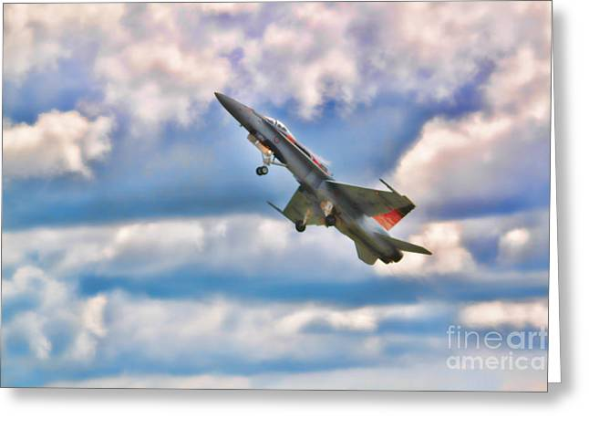 Canadian Cf18 Hornet Taking Flight  Greeting Card by Cathy  Beharriell