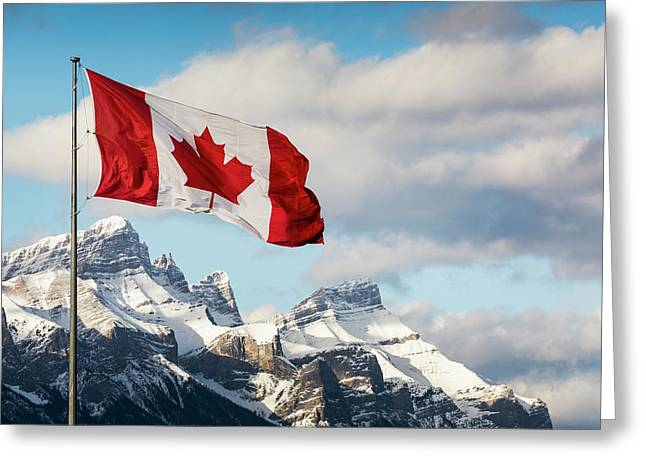 Canadian Flag Blowing In The Wind Greeting Card by Michael Interisano
