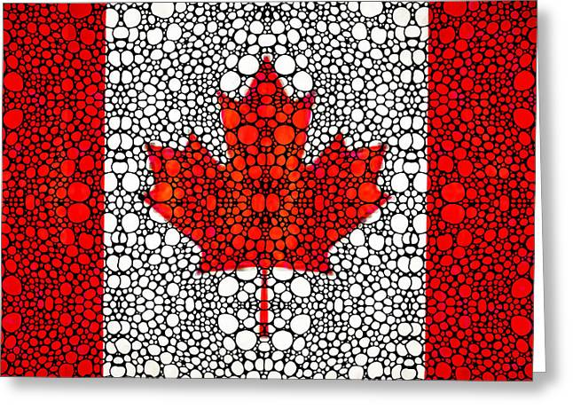 Canadian Flag - Canada Stone Rock'd Art By Sharon Cummings Greeting Card by Sharon Cummings