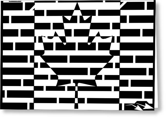 Canadian Flag Maze  Greeting Card by Yonatan Frimer Maze Artist