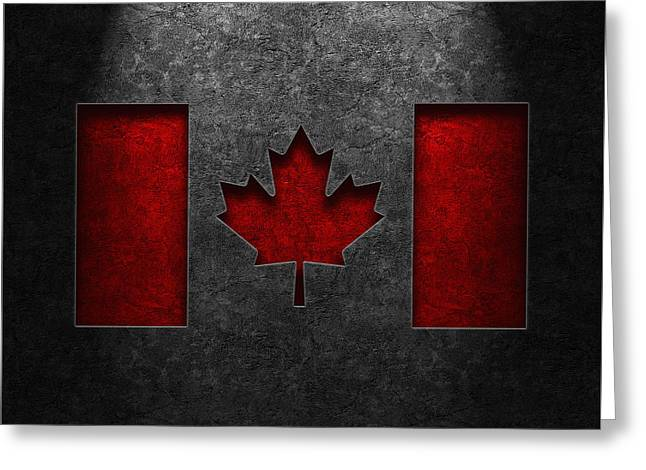 Greeting Card featuring the digital art Canadian Flag Stone Texture by Brian Carson