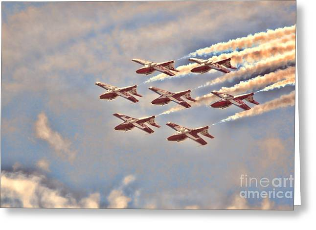 Canadian Forces Snowbirds 2013 Upside Down Formation Greeting Card by Cathy  Beharriell