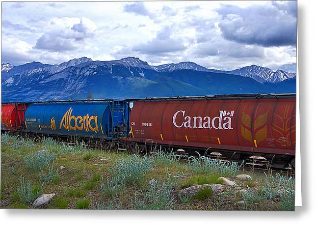 Canadian Freight Train In Jasper #2 Greeting Card
