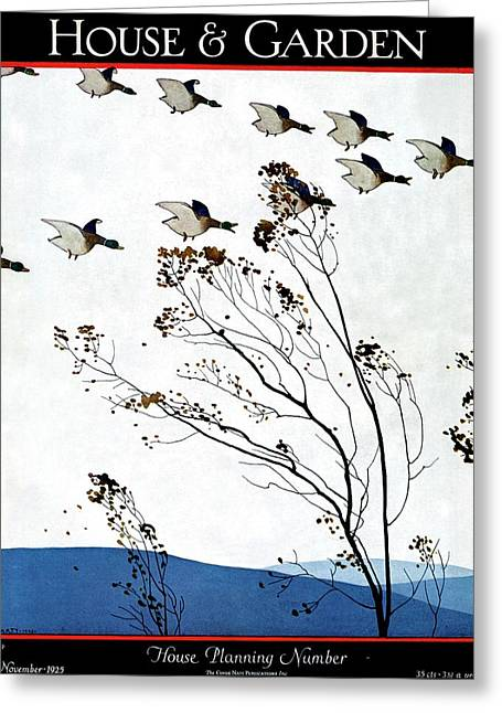 Canadian Geese Over Brown-leafed Trees Greeting Card by Andr? E.  Marty