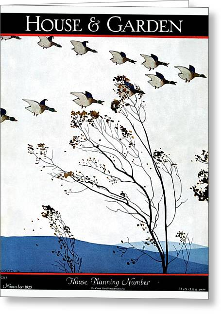 Canadian Geese Over Brown-leafed Trees Greeting Card by Andre E.  Marty