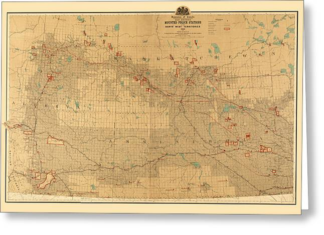 Canadian Mounted Police Map Greeting Card by Andrew Fare