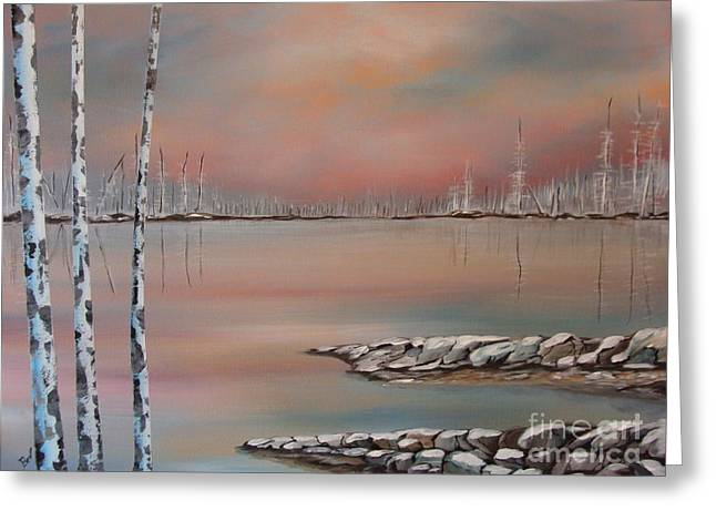 Canadian Northern Reflections Greeting Card by Beverly Livingstone